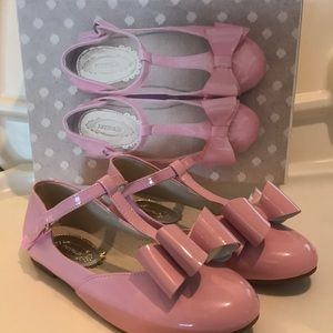 Joyfolie Pale Pink patent with strap and bows